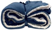 Unique Living Lars - Fleece polyester - Plaid - 150x200 cm - Dark Blue