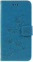 Book Case Bloemen Samsung Galaxy A7 (2018) Hoesje - Blauw