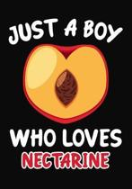 Just a Boy Who Loves nectarine: Journal / Notebook Gift For Boys, Blank Lined 109 Pages, nectarine Lovers perfect Christmas & Birthday Or Any Occasion