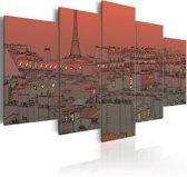 Schilderij - Zonsondergang in Parijs, Oranje, 2 Maten, 5luik