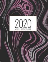 2020 Weekly Monthly Planner: Monthly Calendar - Weekly Organizer - Monday Start - Pink, Silver, and Black Swirl Cover - January 2020 - December 202