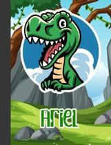 Ariel: Wide Ruled Composition Notebook Dinosaur Boys Kids Personalized Journal for School Supplies - 110 pages 7.44x9.269
