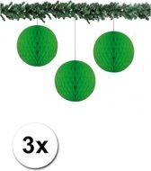 3x decoratie bal groen 10 cm - papieren kerstbal