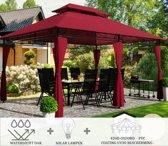 Partytent - 4x3 - Waterdicht Dak - Zijwanden - Solar - Bordeaux Rood Paviljoen