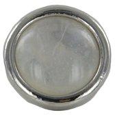 Quiges - Verzilverde Aanschuif Charm Bedel Kunstparel Wit voor Quiges Wikkelarmbanden - EHC208