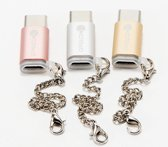 Fashion Keychain Adapter Micro USB Port / Type-C Coverter - Goud