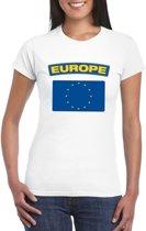 T-shirt met Europese vlag wit dames S