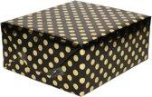 Zwart folie inpakpapier/cadeaupapier gouden stip 200 x 70 cm - Inpakpapier/cadeaupapier/geschenkpapier - Cadeautjes inpakken
