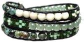 Bela Donaco Wikkel armband Bohemian Green - Afrikaanse Turquoise, Kristal, Fossil en Aventurijn
