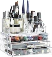 relaxdays make-up organizer klein - stapelbaar - sieradendoosje - cosmetica - opbergbox doorzichtig