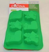 siliconen bakvorm koekjes of cakes in kerst thema - bakvormen - goed voor 6 cakes of koekjes - 100% siliconen - makkelijk uitneembaar