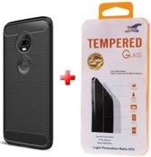 Silicone gel zwart hoesje Motorola Moto G7 / G7 Plus  + Glas screenprotector