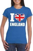 Blauw I love Engeland fan shirt dames XS