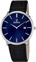 Festina F6839/4 Klassiek - Horloge- Staal - Zilverkleurig - 40.5 mm