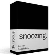 Snoozing - Katoen - Hoeslaken - Lits-jumeaux - 200x220 cm - Zwart