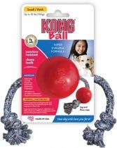 Kong Ball + Touw - Touw - 127 mm x 59 mm x 54 mm - Rood