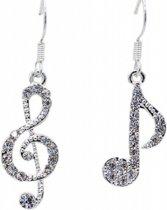 Charme Bijoux collectie® Muziek lange oorbellen- Strass- 2.5 cm-zilverplated