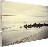 Strand in de ochtend Hout 80x60 cm - Foto print op Hout (Wanddecoratie) / Zee en Strand