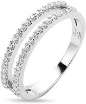 Twice As Nice Ring in zilver, dubbele rij zirkonia Wit 60