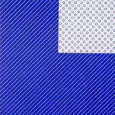 Toonbankrol.nl - Cadeaupapier op rol - Streep/bol 2-zijdig blauw - 50cm - 150m - 80gr