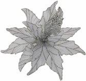 Kerstdecoraties - Clip Poinsettia Zilver Glitter - D30cm