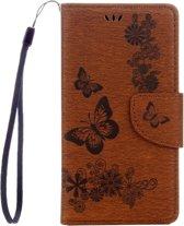 Voor Sony Xperia XZ Power Vlinders Embossing horizontaal Flip lederen hoesje met houder & opbergruimte voor pinpassen & portemonnee & Lanyard(bruin)