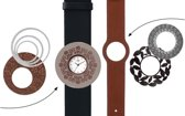 Deja Vu Premium horlogeset zwart/bruin met bruin uurwerk