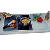 SET van 2 STUKS Multi glazen Snijplanken, gesatineerd glas | Multiglas Snijplanken set | Snijplank keukenblad | Snijplank van veiligheidsglas | 2 Kookplaat afdekplaten | Afmetingen: 52 x 30 x 0,8 Cm. | Kleur: Transparant (2 Stuks)