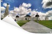 Uitzicht op het Noord-Amerikaanse Griffith-observatorium met wolken Tuinposter 60x40 cm - klein - Tuindoek / Buitencanvas / Schilderijen voor buiten (tuin decoratie)