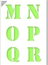 Lettersjabloon - M N O P Q R - Kunststof A3 stencil - Kindvriendelijk sjabloon geschikt voor graffiti, airbrush, schilderen, muren, meubilair, taarten en andere doeleinden