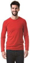 Basic stretch shirt lange mouwen/longsleeve rood voor heren M (38/50)