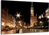 Canvas schilderij Centrum   Zwart, Geel, Bruin   140x90cm 1Luik
