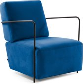 Kave Home - Fauteuil Gamer blauw fluweel