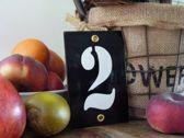 Emaille huisnummer zwart 8x12 nummer '2'