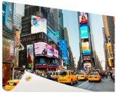 Times Square met gele taxis Tuinposter 60x40 cm - klein - Tuindoek / Buitencanvas / Schilderijen voor buiten (tuin decoratie)