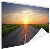 Zonsopkomst boven de weg Poster 90x60 cm - Foto print op Poster (wanddecoratie)