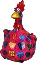 Kip Charlotte spaarpot | Kip - Roze met hartjes | Pomme pidou