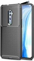 Teleplus Oppo Reno 10x Zoom Case Negro Carbon Silicone Black + Nano Screen Protector hoesje