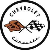 Signs-USA Chevrolet Corvette Round - Retro Wandbord - Metaal - 30 cm rond