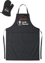 Mijncadeautje - Barbecueschort - Grill Master BBQ - met naam - zwart - XXL 97 x 68 cm - gratis BBQ cap