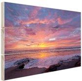 Avondlicht boven de zee Hout 80x60 cm - Foto print op Hout (Wanddecoratie)