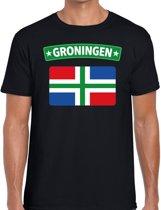 Groningen vlag t-shirt zwart voor heren - Grunnen vlag shirt voor heren 2XL