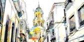 Uitzicht op kathedraal Malaga stad, in Spanje, Andalusië   abstract, modern, sfeer, stad   Foto schilderij print op Glas (plexiglas wanddecoratie)   120x60cm