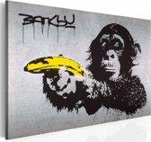 Schilderij - Stop of de aap zal schieten! (Banksy), zwart/geel, 1deel, 40x60cm