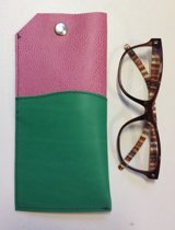 Toetie & Zo Handgemaakte Leren Brillenkoker Roze Groen, brillenetui, brillentas