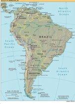 Poster Kaart Zuid-Amerika - Large 70x50 cm Kleur - Landkaart/atlaskaart Brazilië, Argentinië, Colombia en Peru.