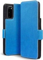 Samsung Galaxy S20 hoesje, MobyDefend slim-fit extra dunne bookcase, Blauw - Geschikt voor: Samsung Galaxy S20