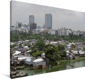 Een krottenwijk in Dhaka Canvas 30x20 cm - klein - Foto print op Canvas schilderij (Wanddecoratie woonkamer / slaapkamer) / Aziatische steden Canvas Schilderijen