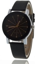 Black Quartz Horloge | Rosegoud & Zwart | PU Lederen Band | Fashion Favorite
