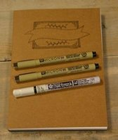 Oefenblok handlettering papier wit/recyling bruin en zwart A5 + 3 handlettering pennen